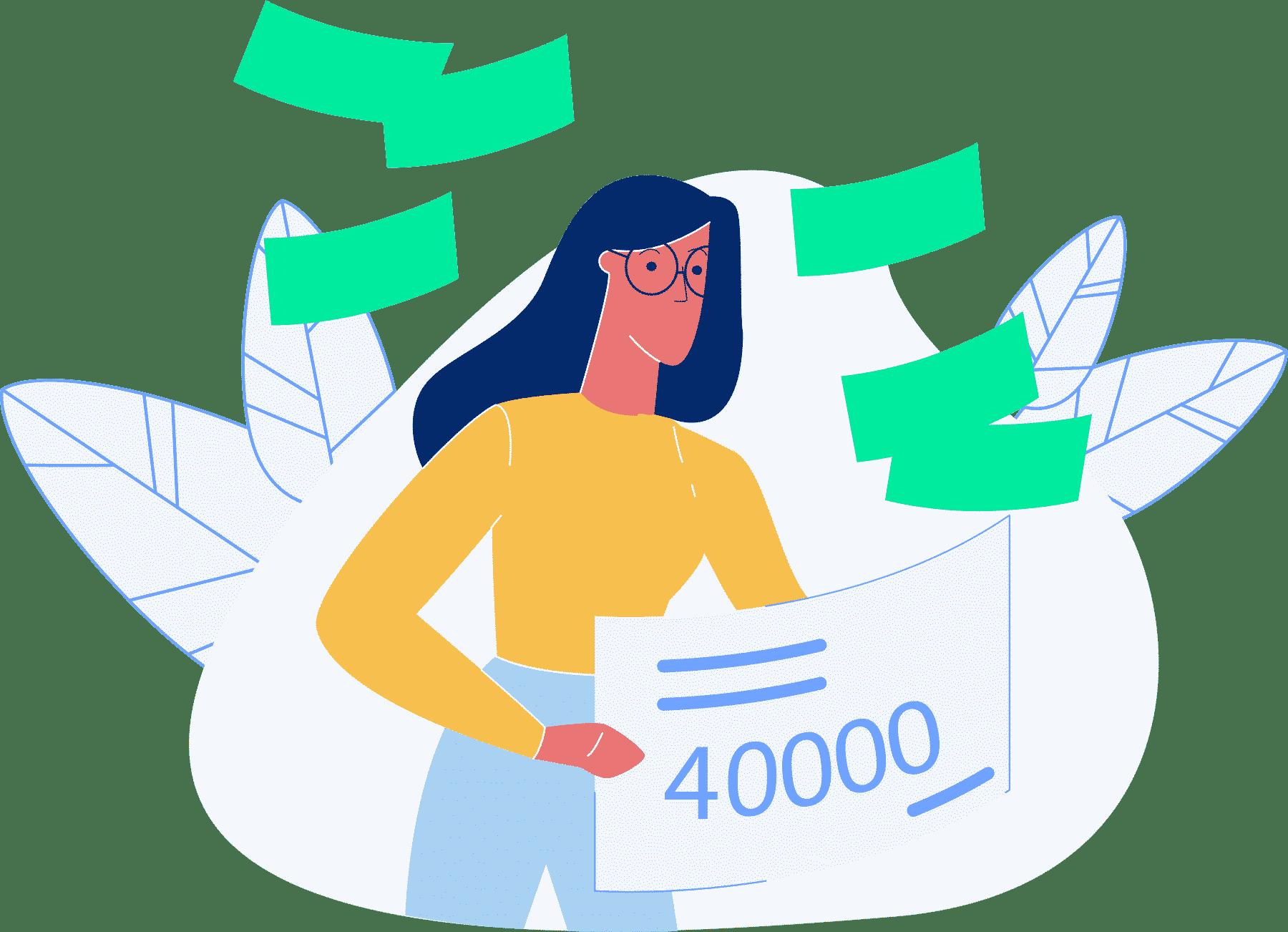 Kvinne viser beløp